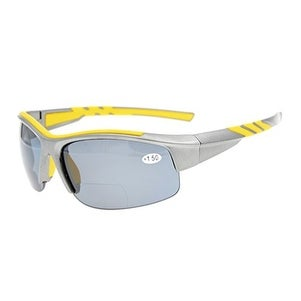 Eyekepper TR90 Unbreakable Sports Bifocal Half Rimless Sunglasses Grey Frame Grey Lens +1.5