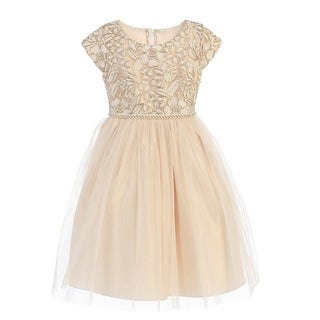 Little Girls Champagne Gold Cord Embroidered Christmas Dress 2-6