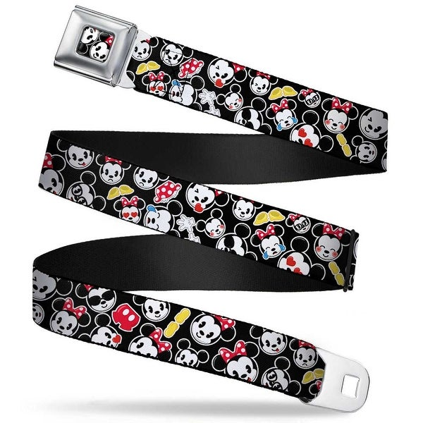 Mickey & Minnie Emojis Close Up Full Color Black Mickey & Minnie Emojis Seatbelt Belt