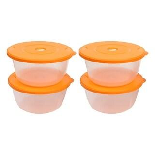 4 Pcs Kitchen Ware Orange Clear Round Airtight Container Microwave Crisper Set