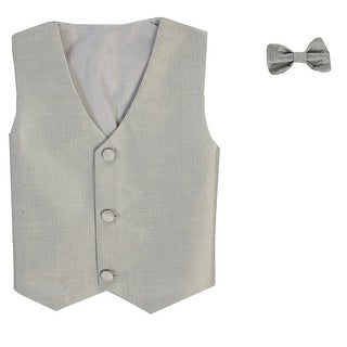 Baby Boys Silver Poly Silk Vest Bowtie Special Occasion Set 3-24M