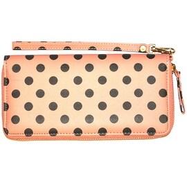 Polka Dot Wristlet Clutch Wallet With Wrist Strap, Coral Pink