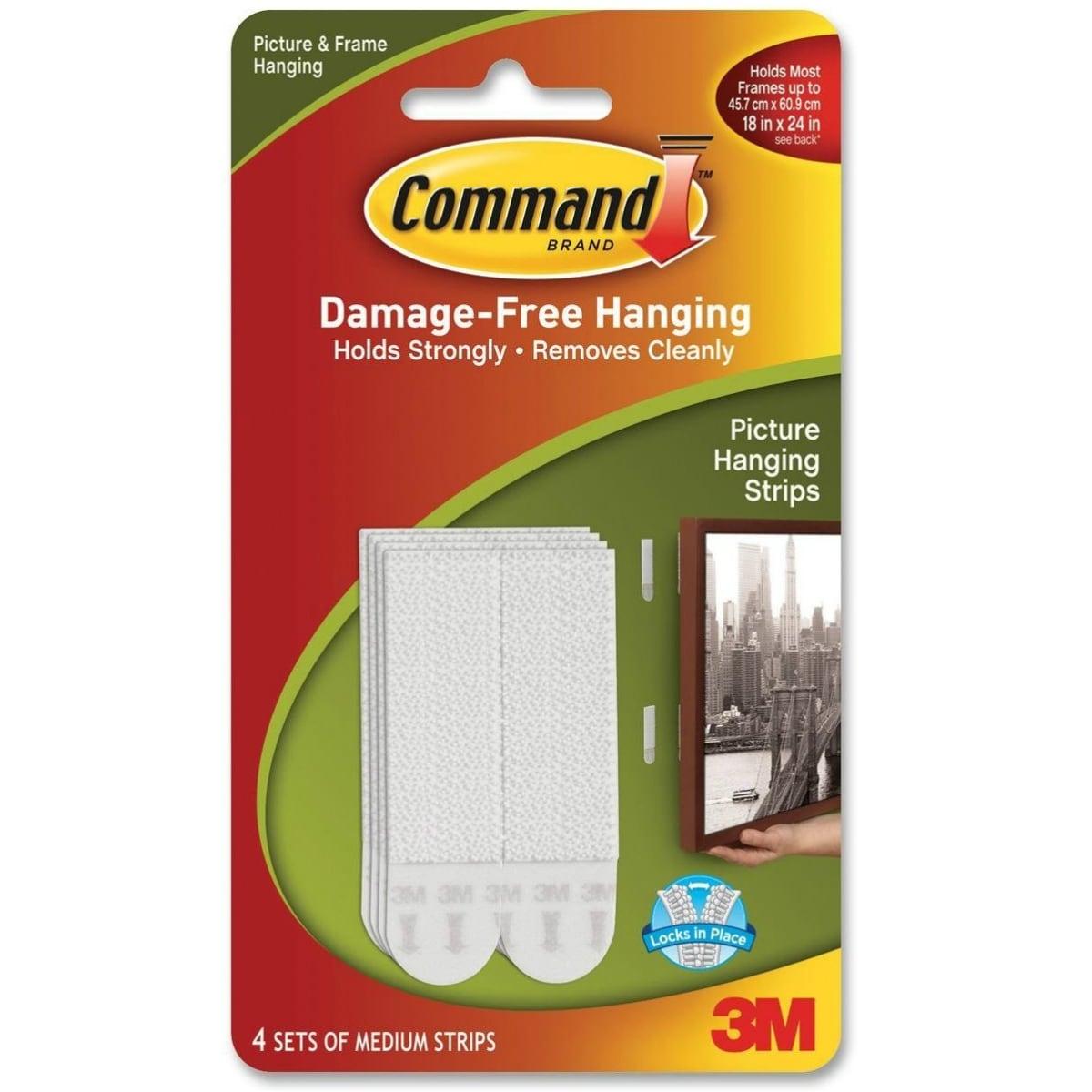 Command 17201-4PK Damage-Free Picture Hanging Strips, Medium, White, 4-Set