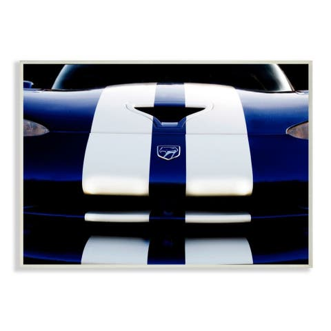 Stupell Industries Sports Car Up Close Blue White Detailing Wood Wall Art