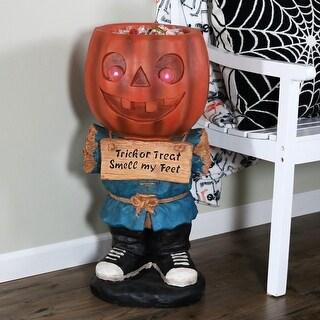 Sunnydaze Halloween Candy Bowl Jack the Scary Pumpkin Statue - 28-Inch