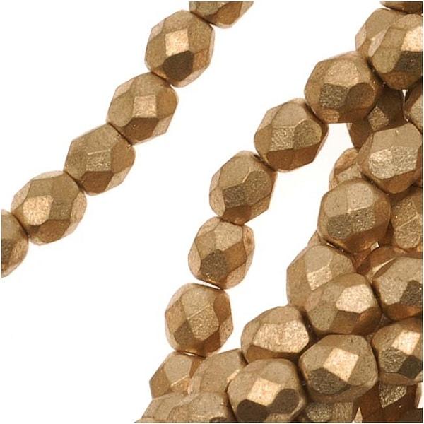Czech Fire Polished Glass Beads 4mm Round Matte Metallic Gold (50)