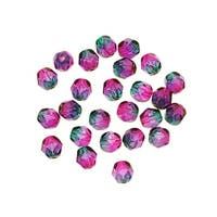 Czech Fire Polished Glass Two Toned Beads 6mm Round Purple & Green (25)