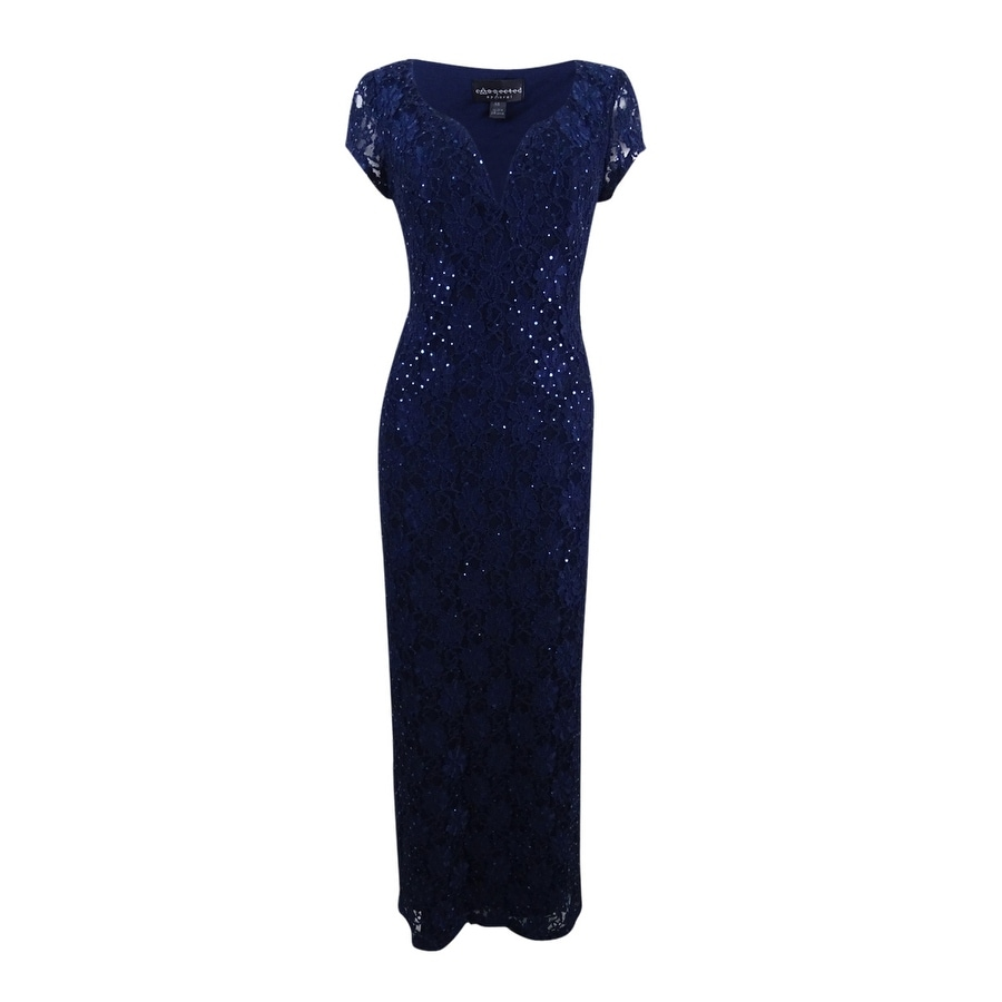 Connected Womens Sequined Lace Column Gown