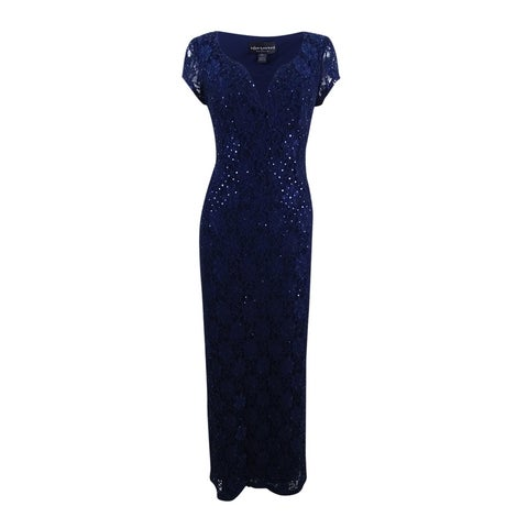 Connected Women's Sequined Lace Column Gown - Navy