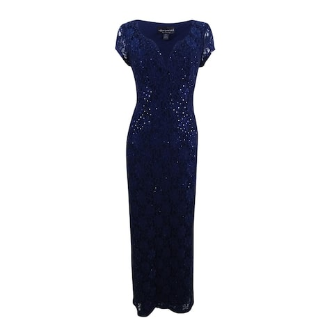 Connected Women's Sequined Lace Column Gown