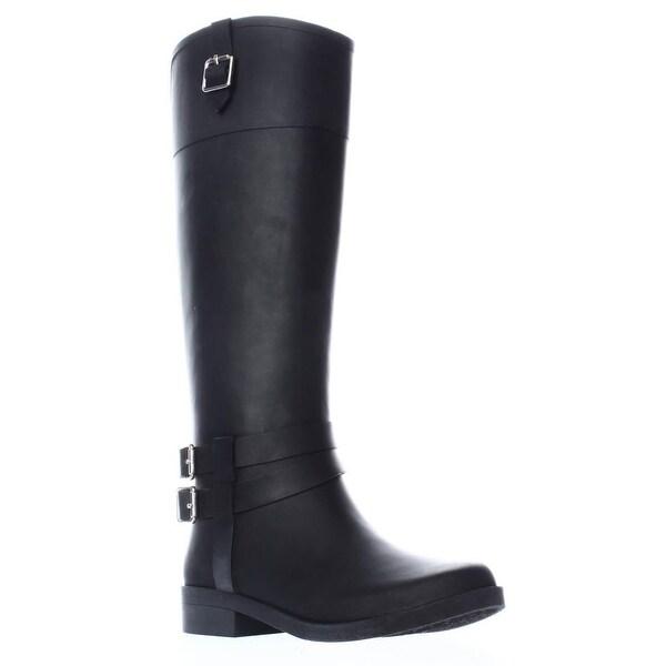 I35 Federica Knee High Rain Boots, Black Matte
