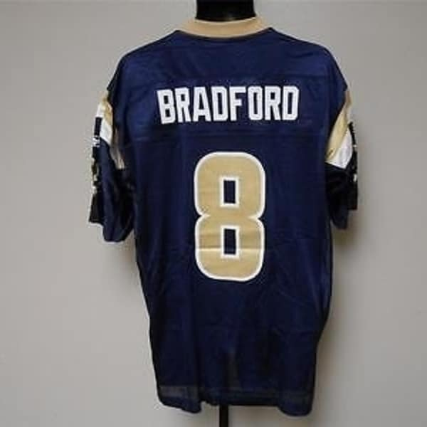 4135ae86 MINOR-FLAW Sam Bradford #8 St. Louis Rams MENS M MEDIUM Reebok Jersey 25BO