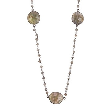 Oxidized Sterling Silver Labradorite Stations Beaded Necklace