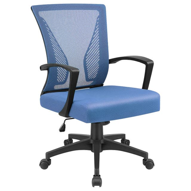 Office Chair Mid Back Swivel Lumbar Support Desk Chair, Computer Ergonomic Mesh Chair with Armrest - Blue
