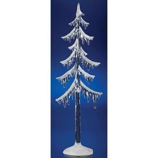 """Pack of 4 Icy Crystal Illuminated Decorative Christmas Icicle Tree Figures 18"""" - CLEAR"""