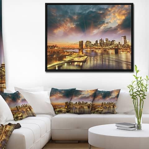 Designart 'Manhattan at Winter Sunset' Cityscape Photo Framed Canvas Print