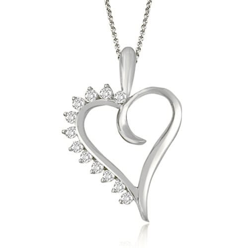 0.25 cttw. 14K White Gold Round Cut Diamond Heart Shape Pendant
