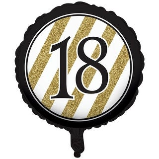 """Pack of 10 Black & Gold Metallic """"18"""" Foil Party Balloons"""
