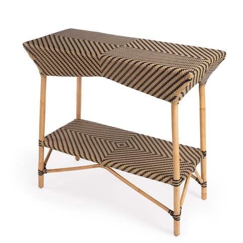 "Offex Ciel Traditional Brown Rattan Rectangular Bar Cart - 16.5""L x 38""W x 34""H"