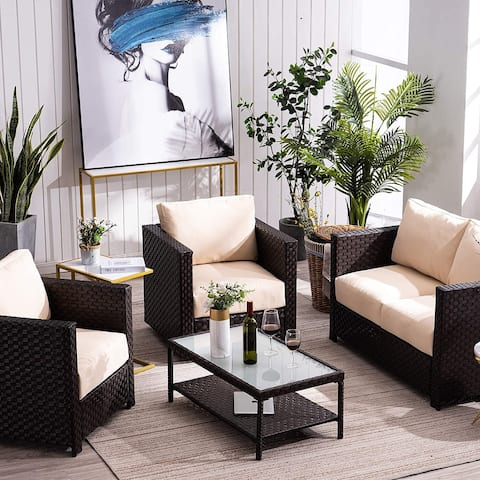 Mcombo Patio Furniture Sectional Set,4 Pieces Outdoor Wicker Sofa 6082-9575