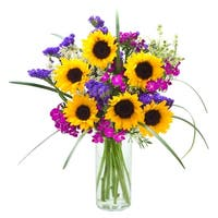 KaBloom - Mixed Bouquet Collection - Sunflowers, Dianthus, Statices, Green Mist & Bear Grass with Vase