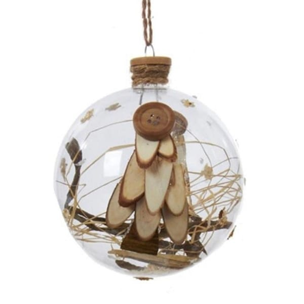 """4"""" Burlap and Nude Button Accented Glass Ball Christmas Ornament"""