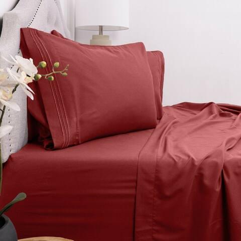 Brushed Microfiber 1800 Series 4 Piece Bed Sheet Set Bedding Soft Deep Pockets