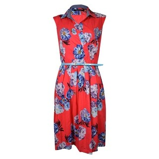 Ellen Tracy Women's Surplice Belted Floral Print Cotton Sundress - Red Multi (3 options available)
