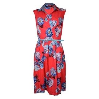 Ellen Tracy Women's Surplice Belted Floral Print Cotton Sundress - Red Multi