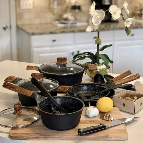 Kitchen Academy Black 12 Piece Nonstick Cookware Set