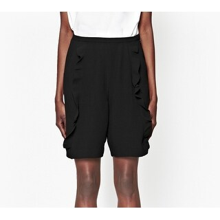 French Connection NEW Black Womens 6 Ruffled High-Rise Dress Shorts