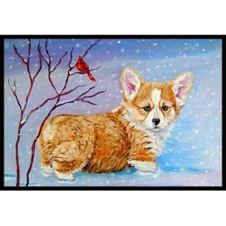 Carolines Treasures 7327MAT Corgi Pup Snow Cardinal Indoor & Outdoor Mat 18 x 27 in.