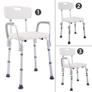 Costway 6 Height Adjustable Medical Shower Chair Stool Bath Tub w/ Back & Armrest