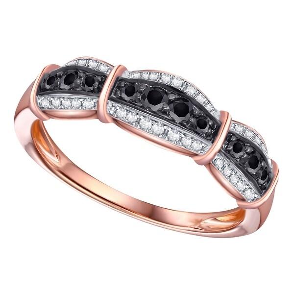 Size 7 Prism Jewel 1.06 Carat Round Cut Black Diamond 7-Stone Prong Setting Band White Gold Plated Silver