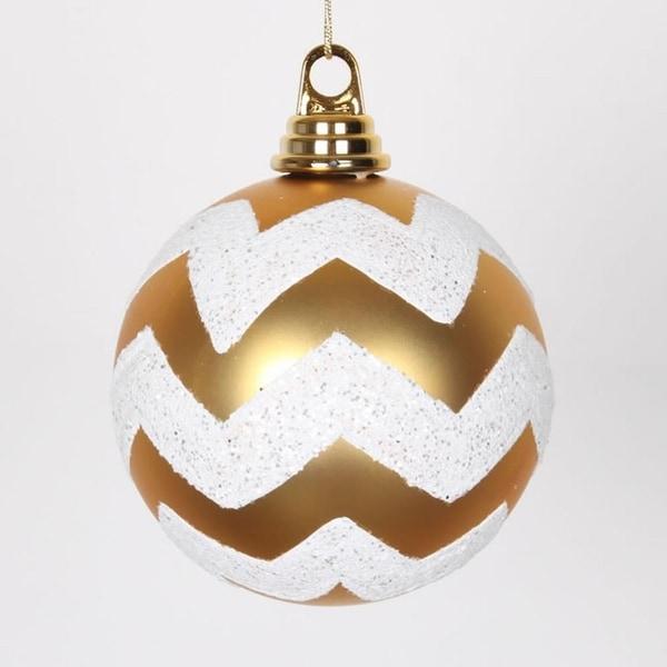 "Gold Matte and White Glitter Chevron Shatterproof Christmas Ball Ornament 4.75"" (120mm)"