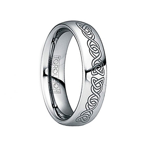 IUNIUS Polished Tungsten Comfort Fit Ring with Black Engraved Celtic Pattern by Crown Ring - 6mm