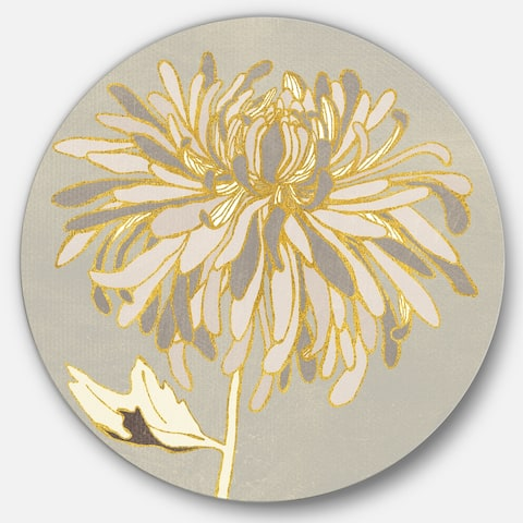 Designart 'Gold Metallic Floral Garden I' Glam Metal Circle Wall Art
