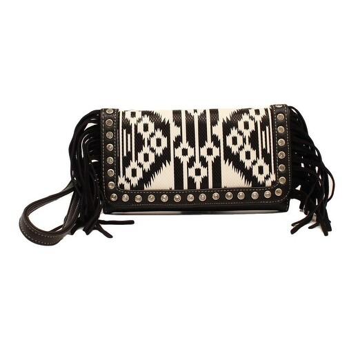 Blazin Roxx Western Wallet Womens Clutch Aztec Black White - 7 1/2 x 4