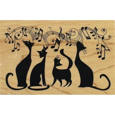 Inkadinkado Wood Stamp Cats In Tune