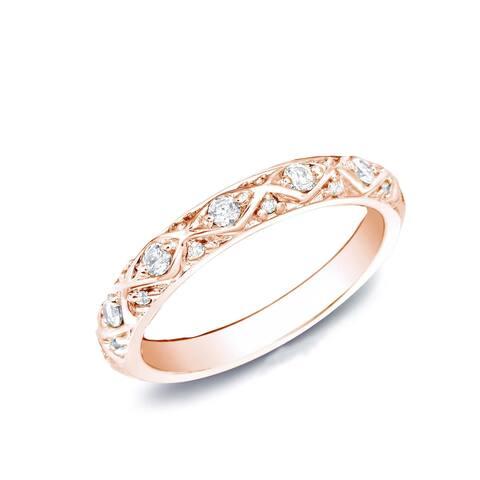 Auriya 14k Rose Gold 1/4ct TDW Diamond Wedding Band