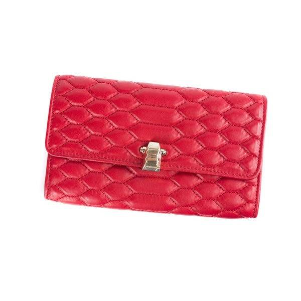 Roberto Cavalli Womens Red Quilted Stitch Hera Wallet - L