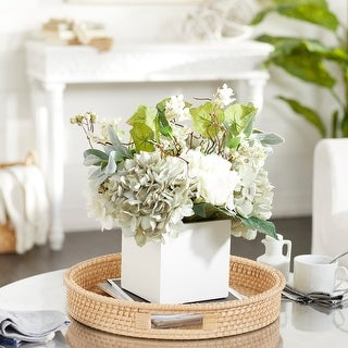 Mixed Floral Arrangement And White Wash Planter On Sale Overstock 8368566