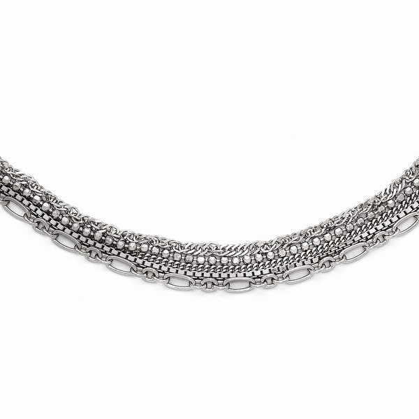 Italian Sterling Silver Polished Five Strand Necklace with 2in ext - 16 inches