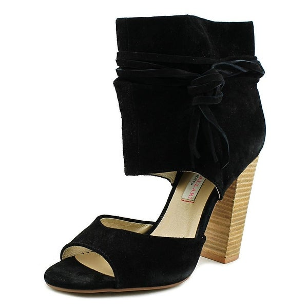 Chinese Laundry Kristin Cavallari Leigh Women Open Toe Suede Black Sandals 412c1804a