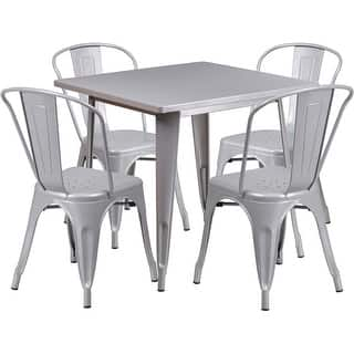 Brimmes 5pcs Square 31 5 Silver Metal Table W 4 Stack Chairs