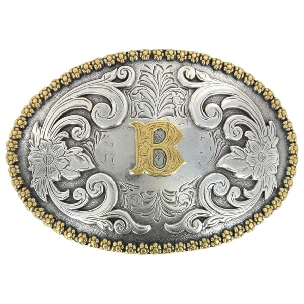 Nocona Western Belt Buckle Classic Floral Country Silver Gold