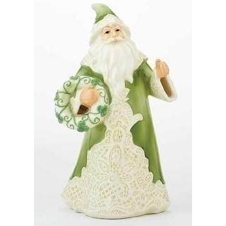 "Green Irish Lace Santa Claus Porcelain Christmas Table Top Figure 7"""