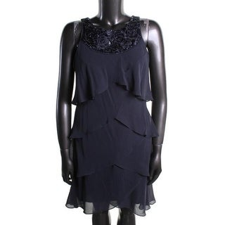 S.L. Fashions Womens Missy Embellished Tiered Cocktail Dress