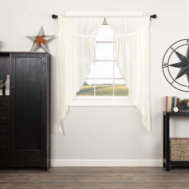 Tobacco Cloth Fringed Short Prairie Panel Set - Prairie Panel 63x36 - Antique White