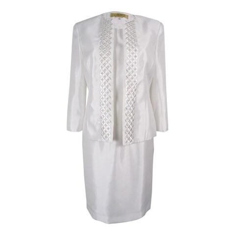Kasper Women's Open Front Embroidered Dress Suit - Vanilla Ice
